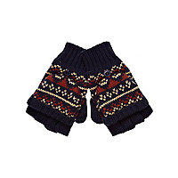Boys navy fairilse fingerless gloves