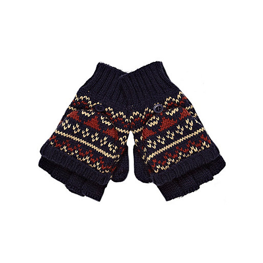 Boys navy fair isle fingerless gloves
