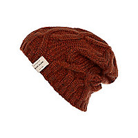Boys rust cable knit beanie hat