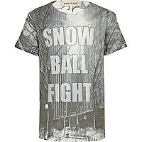 Boys white snowball fight t-shirt