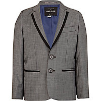 Boys grey contrast trim suit