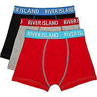 Boys red three pack boxer shorts