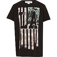 Boys black LA studded print t-shirt