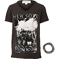 Boys grey New York sound system t-shirt set
