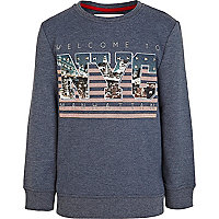 Boys navy studded NYC sweatshirt