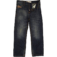Boys blue dark wash straight jeans