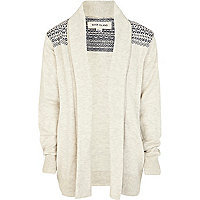 Boys ecru jacquard waterfall cardigan