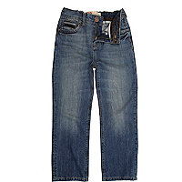 Boys blue mid wash straight leg jeans