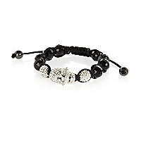 Boys black bling skull beaded bracelet