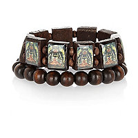 Boys brown two pack tiger bracelets