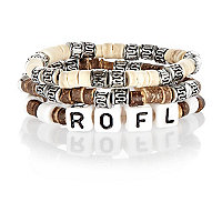 Boys brown three pack rofl bracelets