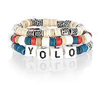 Boys blue yolo beaded bracelet