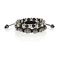Boys black two pack diamante skull bracelet