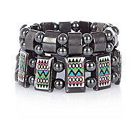 Boys grey two pack aztec bracelets