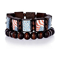 Boys brown two pack American flag bracelets