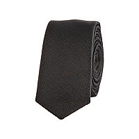 Boys black textured tie