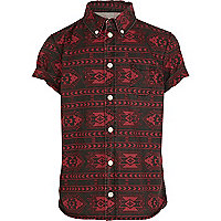Boys red tribal print shirt