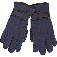Boys navy fleece gloves