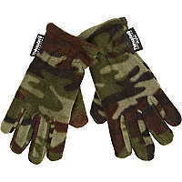 Boys khaki camouflage fleece gloves