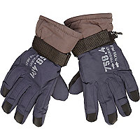 Boys navy ski gloves