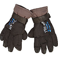 Boys dark grey ski gloves