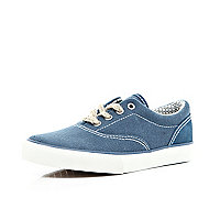 Boys blue lace up plimsols