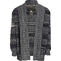 Boys navy space dye waterfall cardigan
