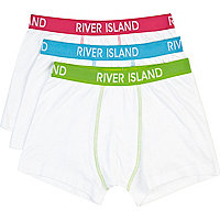 Boys white 3 pack boxer shorts