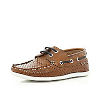 Boys brown plaited boat shoes