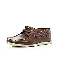 Boys brown boat shoes