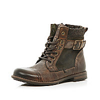 Boys brown military boot