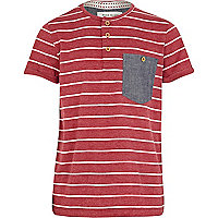 Boys red stripe grandad t-shirt