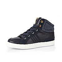 Boys navy denim mix high tops