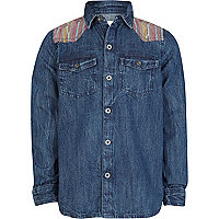 Boys blue mid wash distressed denim shirt