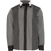 Boys black stripe prom shirt