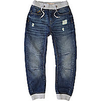 Boys blue mid wash denim jogger jeans