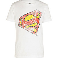 Boys white slanted Superman t-shirt