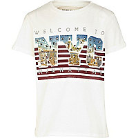 Boys white studded NYC print t-shirt