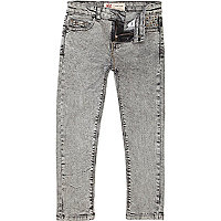 Boys grey studded acid wash jeans