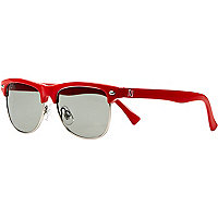 Boys red retro half frame sunglasses