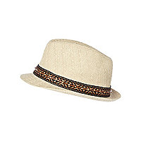 Boys ecru aztec trim straw hat