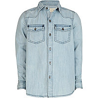Boys blue bleach wash denim shirt