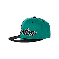 Boys green Boston trucker hat