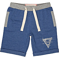 Boys blue marl jogger shorts