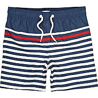 Boys navy breton stripe swim shorts