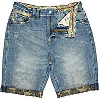 Boys blue denim camo and aztec trim shorts