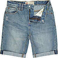 Boys blue mid wash denim shorts
