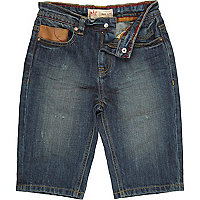 Boys blue mid wash denim long shorts
