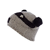 Boys black racoon beanie hat