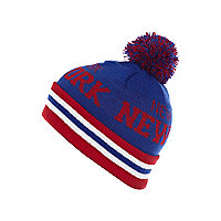 Boys blue New York bobble hat